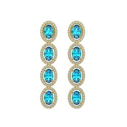 6.28 CTW Swiss Topaz & Diamond Earrings Yellow Gold 10K Yellow Gold - REF-103R6K - 40537