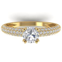 1.40 CTW Certified VS/SI Diamond Solitaire Art Deco Micro Ring 14K Yellow Gold - REF-206V2Y - 30413