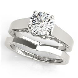 1 CTW Certified VS/SI Diamond Solitaire 2Pc Wedding Set 14K White Gold - REF-396N4A - 31859
