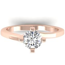 1 CTW Certified VS/SI Diamond Solitaire Ring 14K Rose Gold - REF-278M3F - 30397