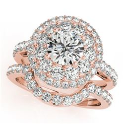 1.88 CTW Certified VS/SI Diamond 2Pc Wedding Set Solitaire Halo 14K Rose Gold - REF-200V2Y - 30934