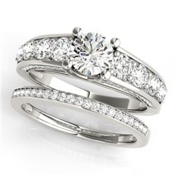 3.25 CTW Certified VS/SI Diamond 2Pc Set Solitaire Wedding 14K White Gold - REF-640F5N - 32099