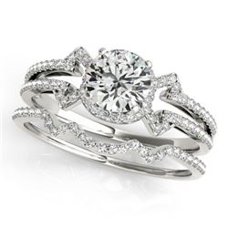 1.01 CTW Certified VS/SI Diamond Solitaire 2Pc Wedding Set 14K White Gold - REF-140K2W - 31997