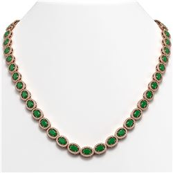 34.11 CTW Emerald & Diamond Necklace Rose Gold 10K Rose Gold - REF-562Y9X - 40401