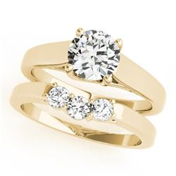 0.67 CTW Certified VS/SI Diamond 2Pc Set Solitaire Wedding 14K Yellow Gold - REF-105K3W - 32107