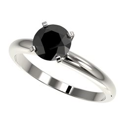 1.25 CTW Fancy Black VS Diamond Solitaire Engagement Ring 10K White Gold - REF-39K5W - 32906