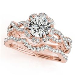 1.93 CTW Certified VS/SI Diamond 2Pc Wedding Set Solitaire Halo 14K Rose Gold - REF-420V4Y - 31185