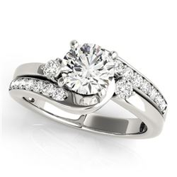 1.50 CTW Certified VS/SI Diamond Bypass Solitaire Ring 18K White Gold - REF-398W2H - 27699