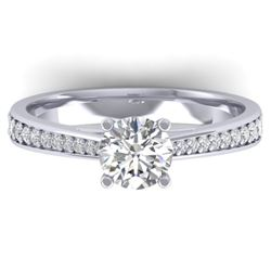 1.01 CTW Certified VS/SI Diamond Solitaire Art Deco Ring 14K White Gold - REF-176M5F - 30381