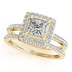 1.76 CTW Certified VS/SI Princess Diamond 2Pc Set Solitaire Halo 14K Yellow Gold - REF-444F2N - 3135