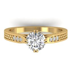 1.22 CTW Certified VS/SI Diamond Solitaire Art Deco Ring 14K Yellow Gold - REF-355H3M - 30509