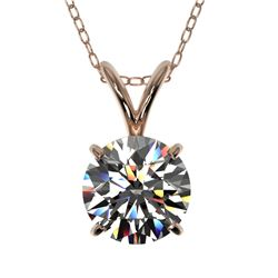 1 CTW Certified H-SI/I Quality Diamond Solitaire Necklace 10K Rose Gold - REF-147M2F - 33183