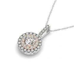 0.85 CTW Certified VS/SI Diamond Solitaire Halo Necklace 14K White & Rose Gold - REF-112N9A - 29937