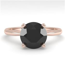 2.0 CTW Black Diamond Engagement Designer Ring 18K Rose Gold - REF-74W2H - 32447