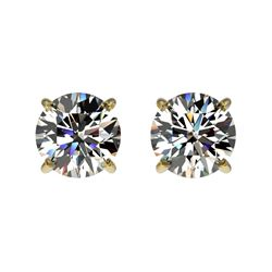 1 CTW Certified H-SI/I Quality Diamond Solitaire Stud Earrings 10K Yellow Gold - REF-94X5R - 33051