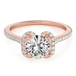 1.33 CTW Certified VS/SI Diamond Solitaire Halo Ring 18K Rose Gold - REF-371N5A - 26183