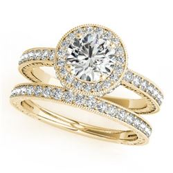1.78 CTW Certified VS/SI Diamond 2Pc Wedding Set Solitaire Halo 14K Yellow Gold - REF-411A3V - 31255