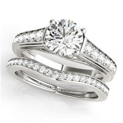 1.70 CTW Certified VS/SI Diamond Solitaire 2Pc Wedding Set 14K White Gold - REF-407K3W - 31628