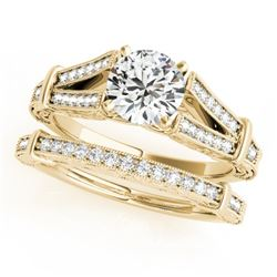 0.91 CTW Certified VS/SI Diamond Solitaire 2Pc Wedding Set Antique 14K Yellow Gold - REF-148M5F - 31