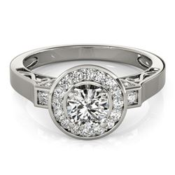 1.50 CTW Certified VS/SI Diamond Solitaire Halo Ring 18K White Gold - REF-394F5N - 27084