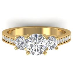 1.75 CTW Certified VS/SI Diamond 3 Stone Ring 14K Yellow Gold - REF-389M8F - 30389