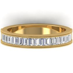 1 CTW Baguette VS/SI Diamond Art Deco Eternity Band 14K Yellow Gold - REF-107R3K - 30317