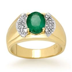 2.15 CTW Emerald & Diamond Men's Ring 10K Yellow Gold - REF-61H8M - 13476