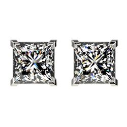 2 CTW Certified VS/SI Quality Princess Diamond Stud Earrings 10K White Gold - REF-585Y2X - 33094