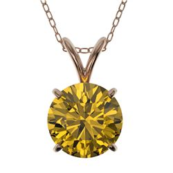 1.50 CTW Certified Intense Yellow SI Diamond Solitaire Necklace 10K Rose Gold - REF-285F2N - 33229