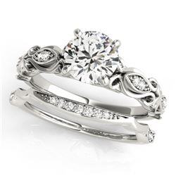 0.96 CTW Certified VS/SI Diamond Solitaire 2Pc Wedding Set Antique 14K White Gold - REF-207R3K - 314