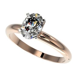 1.25 CTW Certified VS/SI Quality Oval Diamond Solitaire Ring 10K Rose Gold - REF-370R8K - 32914