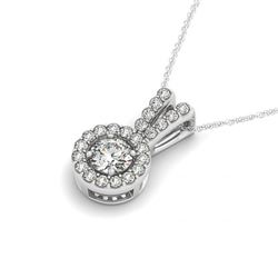 0.90 CTW Certified SI Diamond Solitaire Halo Necklace 14K White Gold - REF-110H4M - 30244