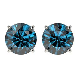 3 CTW Certified Intense Blue SI Diamond Solitaire Stud Earrings 10K White Gold - REF-379F3N - 33126