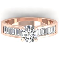 1.75 CTW Certified VS/SI Diamond Solitaire Art Deco Ring 14K Rose Gold - REF-422V4Y - 30349
