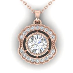 1.02 CTW Certified VS/SI Diamond Art Deco Necklace 14K Rose Gold - REF-177W3H - 30544