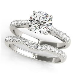 0.98 CTW Certified VS/SI Diamond Solitaire 2Pc Wedding Set 14K White Gold - REF-129F5N - 31574