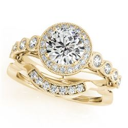 1.60 CTW Certified VS/SI Diamond 2Pc Wedding Set Solitaire Halo 14K Yellow Gold - REF-402W4H - 30851
