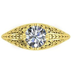 1 CTW Solitaire Certified VS/SI Diamond Ring 14K Yellow Gold - REF-277W2H - 38525