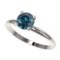 1 CTW Certified Intense Blue SI Diamond Solitaire Engagement Ring 10K White Gold - REF-136R4K - 3289