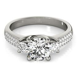 1.25 CTW Certified VS/SI Diamond 3 Stone Micro Pave ring 18K White Gold - REF-225A3V - 28020