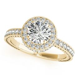 1.51 CTW Certified VS/SI Diamond Solitaire Halo Ring 18K Yellow Gold - REF-398H5M - 26939