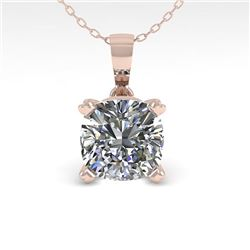 0.50 CTW VS/SI Cushion Diamond Designer Necklace 14K White Gold - REF-85R8K - 38413