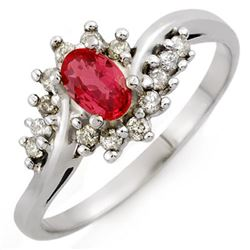 0.55 CTW Red Sapphire & Diamond Ring 18K White Gold - REF-38H5M - 10146