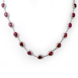 27.0 CTW Ruby & Diamond Necklace 14K White Gold - REF-252M9F - 10117