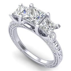 2.66 CTW Princess VS/SI Diamond Art Deco 3 Stone Ring 18K White Gold - REF-581K8W - 37157