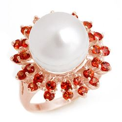 1.50 CTW Red Sapphire & Pearl Ring 14K Rose Gold - REF-50V4Y - 10445