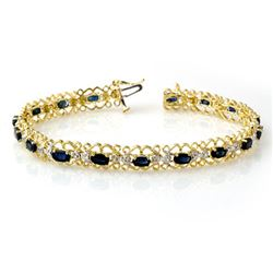 7.02 CTW Blue Sapphire & Diamond Bracelet 10K Yellow Gold - REF-69K3W - 14527