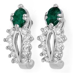 0.85 CTW Emerald & Diamond Earrings 14K White Gold - REF-43V3Y - 10560