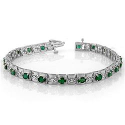 4.09 CTW Emerald & Diamond Bracelet 14K White Gold - REF-118X2R - 10210
