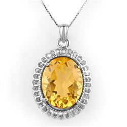 12.0 CTW Citrine Necklace 14K White Gold - REF-72X4R - 10326